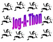 The words Jog-A-Thon surrounded by jogging stick figures