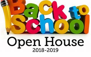 The words Back To School Open House 2018-2018