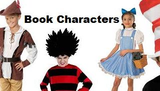 The words Book Characters surrounded by children dressed as book characters