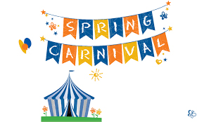 Banners saying SPRING CARNIVAL hanging over a tent
