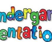 The words Kindergarten Orientation in a variety of colors and patterns