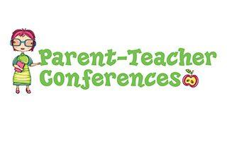 A teacher standing next to the words Parent-Teacher Conferences
