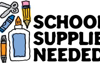 The words SCHOOL SUPPLIES NEEDED along with various supplies