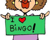 Funny lady holding I Love Bingo sign