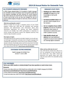 Opt Out Information and Form 2019 - 2020